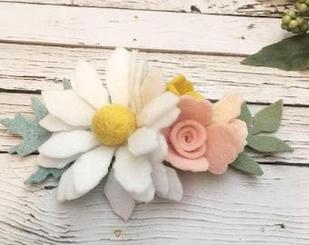 Easter Headband, daisy headband, Birthday Crown, Daisy Crown, Felt Flower Headband , Floral Crown,  Flower Headband, Baby Hair bow