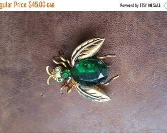 ON SALE Vintage Glass Jewel Bug Pin - Estate Find