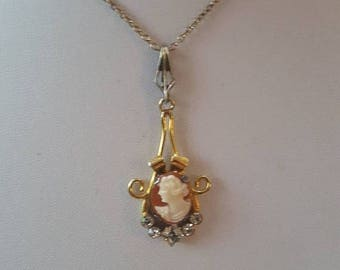 ON SALE Vintage Goldfilled Cameo Necklace
