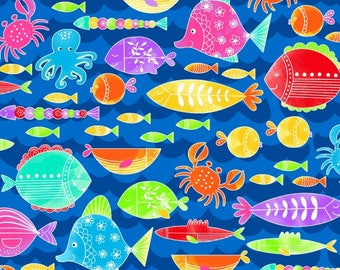 Studio E - Alpha Fish - All over Fish - blue Background - 4014-77 -  Sold by the Yard
