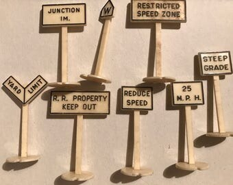 Lot of vintage model railroad signs Revell trains plastic