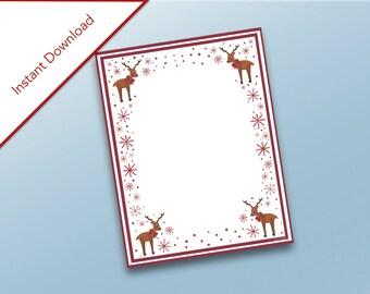 Reindeer Stationary, Holidays Printable, Santa's Reindeer, Dear Santa Letter, Stationary, Letter to Santa, Printable Letter, Snowflakes