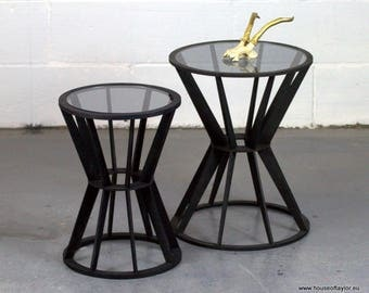 Small Table, Side Table, Contemporary, Bedside Table, Drum Table, Laser Cut Table, Acrylic Glass Top Table