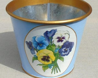 Flower pots Tole painted and decorated with pansies