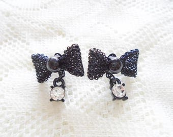 Black bow stud earring, Black bow & Crystal earring