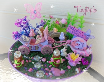 Fairy Garden Carriage Kit with Plants and Flowers