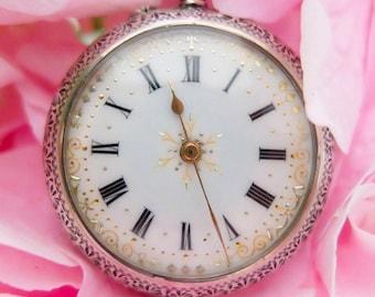 Antique Pocket Watch | Wedding Pocket Watch | 1888 Pocket Watch | Swiss Pocket Watch | Sterling Silver Pocket Watch | Ornate Pocket Watch
