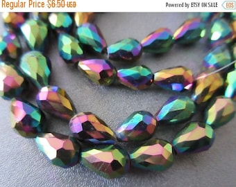 ON SALE 15% OFF Chinese Crystal Faceted Teardrop Beads 30pcs Metallic