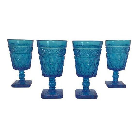 Mid-Century Goblets blue teal wine glasses