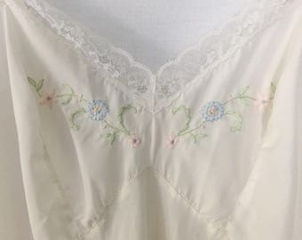 embroidered slip with lace trim