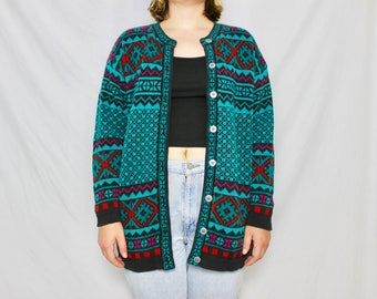 Vintage Printed Cardigan // 80s Colorful Sweater // Turquoise Segrets Sun Prints // Oversized // Size Medium