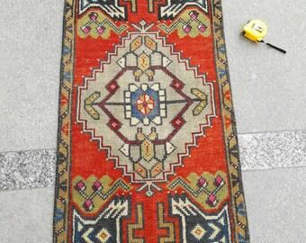 """Mat Rug Doormat Rug Entryway Rug Small Oushak Rug Area Rug Vintage Turkish Rug Oriental Rug Bathroom Rug 1'6"""" x 3'5"""" Feet Free Shipping !"""