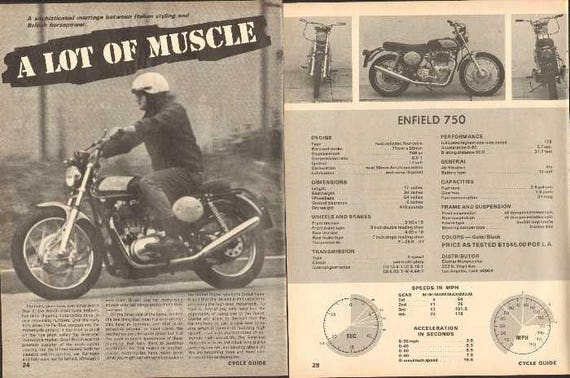 1969 Clymer Indian Enfield 750 Motorcycle Test 5-Page Photo Article #nbo07