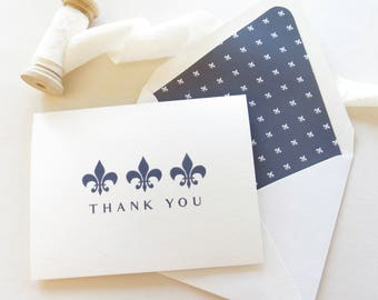 Thank You Cards Fleur De Lis Stationery - New Orleans Thank You Notes - Personal Stationery - Navy and White Fold Over Note Cards