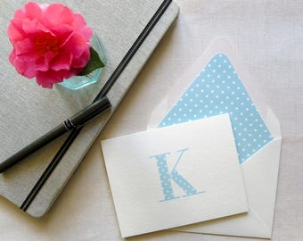 Personal Stationery with Monogram - Polka Dot Notecards - Personal Note Cards - Set of 10 - Teal Blue and White Polka Dot