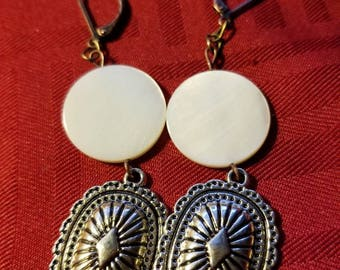 Mother Pearl Concho Earrings