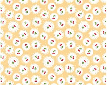 """Sew 2 Doily YELLOW Fabric by Riley Blake Designs """"Sew Cherry 2"""" By Lori Holt of Bee In My Bonnet (1 yard, 1/2 yard, fat quarter)"""
