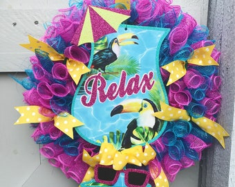 Florida Wreath | Vacation Tropical Wreath | Summer Wreath | California Wreath | Door Decor | Front Door Wreath