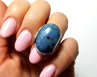 SALE Blue Stone Ring, Size 7.5, Size 8, 8.5, Natural Denim Lapis, Sterling Silver, Boho Ring, Bohemian Fashion, Finger Candy, Oval Lapis Rin