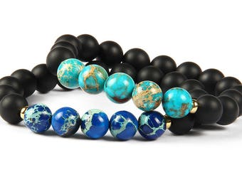 2 PC Set! Travel Bracelets - Earth and Oceans - Traveling the World - Discovery - Gifts For Him and Her - Companionship