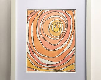 abstract watercolor abstract painting orange home decor orange abstract art original watercolor painting orange watercolor small art