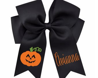 Monogram Halloween Hair Bow-Halloween Hair Bow-Pumpkin Hair Bow-Girl Halloween Outfit-Monogram Pumpkin Hairbow-Pumpkin Hairbow-Girl Hairbow