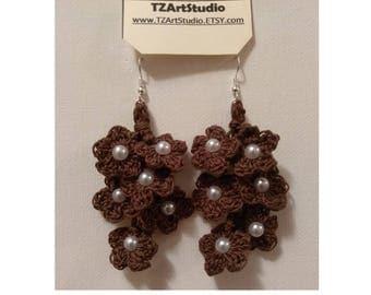 Crochet Flower Bunch Earrings Medium Length Bridal jewelry earrings
