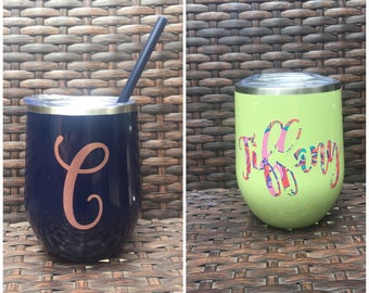 Stainless Steel Wine Tumbler with Lid and Straw