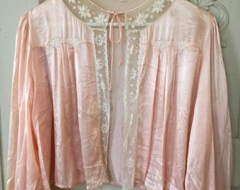 """Old French """" liseuse"""" , bed jacket, satin, silk and brodery"""