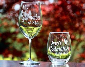 Custom Etched Godmother Godfather Wine Glass, Godmother Wine Glass, Will You Be My Godmother, Will You Be My Godfather, Godparents Gift