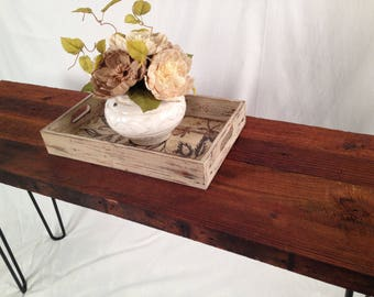 Antique Barnwood Console Table with HairPin Legs