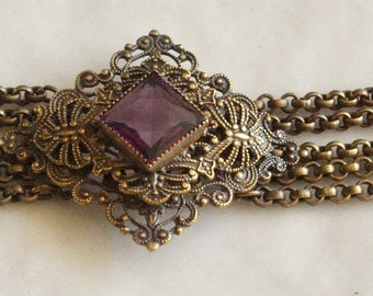 Victorian Revival Czech Brass and Glass Chain Bracelet