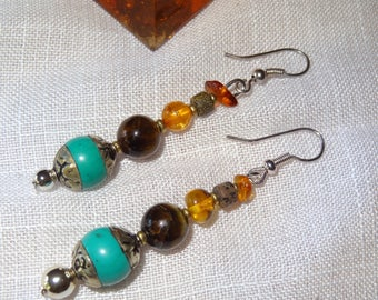Nepal earrings turquoise