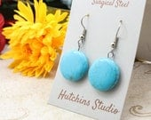 TURQUOISE HOWLITE Earrings -  Surgical Steel Earrings - Handmade Surgical Steel  Earrings - Howlite Earrings - Turquoise Earrings -