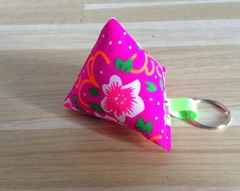 Keychain in Cherry, pink flowers-neon fabric