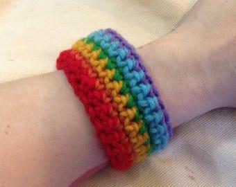 Adjustable Rainbow Crochet Cuff Bracelet - Laced Wrist Cuff