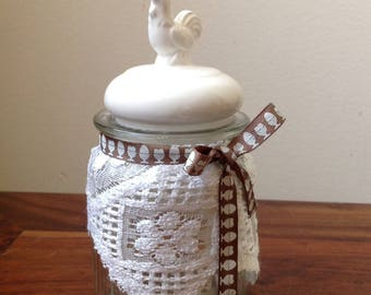 Glass lid with Chick earthenware jar, decorated cottage chic, candy, teacher gift idea
