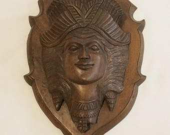 Antique Handcarved Wooden Mythical Woman Figurehead Style Wall Plaque