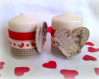 2 candles Valentine heart bark decoration red and beige ribbons