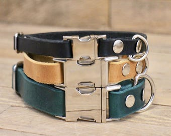 Dog collar, FREE ID TAG, Clasp leather collar, Small dog clip collar, Leather dog collar, Handmade dog collar, Side release buckle collar.