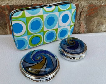 Blue Glass Mirror Compact & Pill Box with Manicure Set