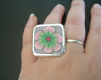 "RING FIMO 28 MM ""VLA SPRING"" PATTERN GREEN FLOWER AND PINK"