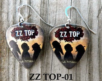 Custom Handmade Guitar Pick Earrings - ZZ  TOP