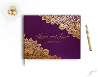 Gold Lace Wedding Guest Book, Modern Wedding Guestbook,Hardcover Custom Wedding Guestbook,Elegant Guest Guestbook,White and purple guestbook