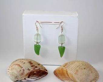Green and White Seaglass Earrings
