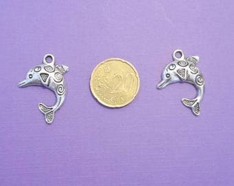 Set of two silver metal Dolphin charms