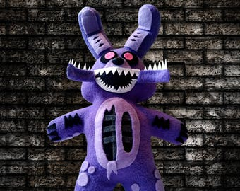 "Fnaf ~Handmade Plush~Twisted Bonnie/ Five Nights at Freddys 13"" inch Plushie"