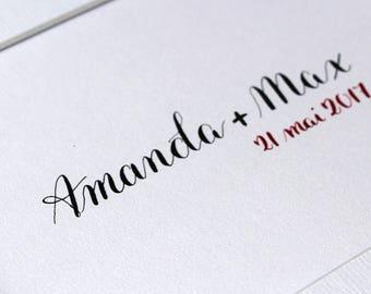 Affiche amour personnalisée prénoms + date en calligraphie | Cadeau souvenir mariage Pacs | Calligraphie à la main prénoms couple et date