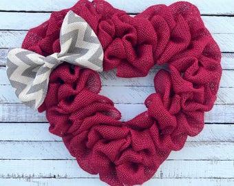 Valentine's Day Wreath, Heart Wreath, Red Burlap Heart Wreath With Bow, Winter Wreath, Front Door Wreath, Love Wreath, Valentine's Day