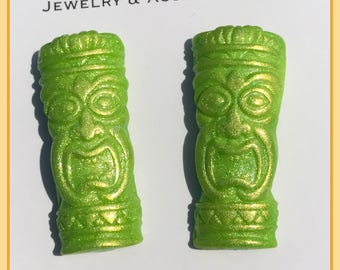 Tiki Oasis polymer clay Post style Pinup earrings in Lime Green and Gold
